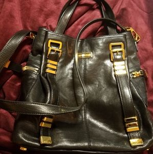 Michael Kors black leather tote bag